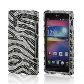 Silver/ Black Zebra Bling Hard Case for LG Optimus G (AT&amp;T)