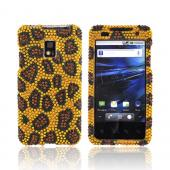 T-Mobile G2X Bling Hard Case - Brown/ Black Leopard on Gold Gems
