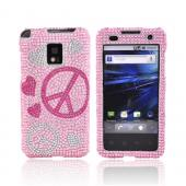 T-Mobile G2X Bling Hard Case - Pink Lovely Peace