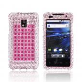 T-Mobile G2X Bling Hard Case - Pink &amp; Silver on Pink Gems