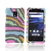 T-Mobile G2X Bling Hard Case - Rainbow Zebra on Silver