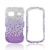 LG Rumor Reflex Bling Hard Case - Purple/ Lavender Waterfall on Silver Gems