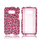 LG Optimus Elite Bling Hard Case - Hot Pink Leopard on Silver Gems