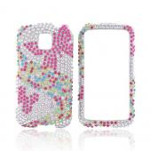 LG Optimus M MS690 Bling Hard Case - Pink Butterfly on Silver