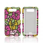 LG Viper 4G LTE/ LG Connect 4G Bling Hard Case - Green/ Hot Pink/ Yellow Hawaiian Flowers