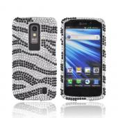 LG Nitro HD Bling Hard Case - Black Zebra on Silver Gems
