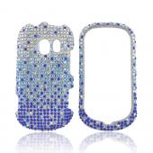 LG Extravert VN271 Bling Hard Case - Turquoise/ Blue Waterfall on Silver Gems