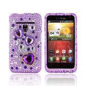 LG Revolution, LG Esteem Bling Hard Case - Purple Hearts on Light Purple/ Silver Gems