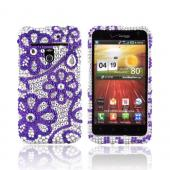 LG Revolution, LG Esteem Bling Hard Case - Purple Lace Flowers on Silver Gems