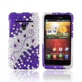 LG Revolution, LG Esteem Bling Hard Case - Purple/ Silver Hearts &amp; Gems