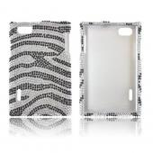 LG Optimus Vu VS950 Bling Hard Case - Black Zebra on Silver Gems