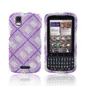 Motorola Droid Pro A957 Bling Hard Case - Checkered Purple