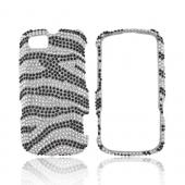 Motorola Admiral Bling Hard Case - Black Zebra on Silver Gems