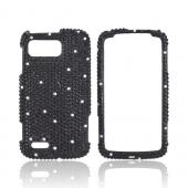 Motorola Atrix 2 Bling Hard Case - Black/ White Gems