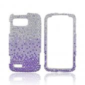 Motorola Atrix 2 Bling Hard Case - Purple/ Lavender Waterfall on Silver Gems