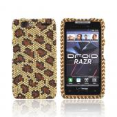 Motorola Droid RAZR Bling Hard Case - Brown Leopard on Gold Gems