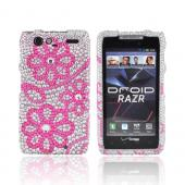 Motorola Droid RAZR Bling Hard Case - Pink Lace Flowers on Silver Gems