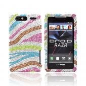 Motorola Droid RAZR Bling Hard Case - Rainbow Zebra on Silver Gems