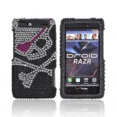Motorola Droid RAZR Bling Hard Case w/ Crowbar - Silver Skull w/ Pink Eyepatch on Black Gems