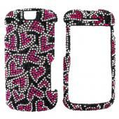 Motorola Clutch i465 Bling Hard Case - Pink Hearts on Black Diamonds