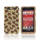 Motorola Droid RAZR MAXX Bling Hard Case - Brown/ Black Leopard on Gold Gems