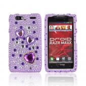 Motorola Droid RAZR MAXX Bling Hard Case - Purple Hearts on Light Purple and Clear Gems