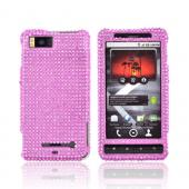 Luxmo Motorola Droid X MB810 Bling Hard Case - Hot Pink