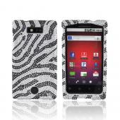 Motorola Triumph Bling Hard Case - Black Zebra on Silver Gems