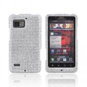 Motorola Droid Bionic XT875 Bling Hard Case - Silver Gems