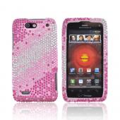 Motorola Droid 4 Bling Hard Case - Magenta/ Pink/ Silver Gems