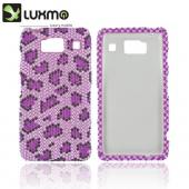 Motorola Droid RAZR HD Bling Hard Case - Purple/ Light Purple Leopard Gems