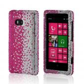 Hot Pink/ Silver Gems Bling Hard Case for Nokia Lumia 810