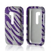 Purple/ Silver Zebra Bling Hard Case for Nokia Lumia 822