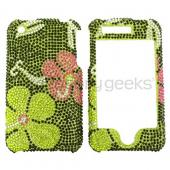 Apple iPhone 3GS 3G Bling Hard Case - Pink Flower on Green Diamonds