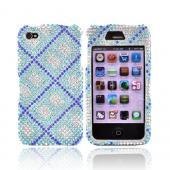 Apple Verizon/ AT&amp;T iPhone 4, iPhone 4S Bling Hard Case - Argyle Pattern of Blue Diamonds