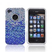 AT&T/ Verizon Apple iPhone 4, iPhone 4S Bling Hard Case w/ Kickstand - Blue/ Turquoise Waterfall on Silver Gems