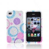 Luxmo Apple Verizon/ AT&amp;T iPhone 4, iPhone 4S Bling Hard Case - Purple/Blue/Pink Circles on Silver