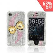 AT&amp;T/ Verizon Apple iPhone 4, iPhone 4S Bling Hard Case - Gold Heart Bow Bling on Silver Gems