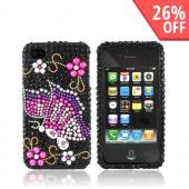 Luxmo Apple Verizon/ AT&amp;T iPhone 4, iPhone 4S Bling Hard Case - Pink/Purple Butterfly on Black Gems