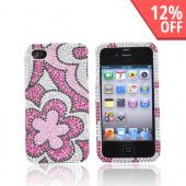 Luxmo Apple Verizon/ AT&amp;T iPhone 4, iPhone 4S Bling Hard Case - Hot Pink Flowers on Silver