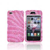 Apple Verizon/ AT&amp;T iPhone 4, iPhone 4S Bling Hard Case - Zebra Design of Pink/Hot Pink