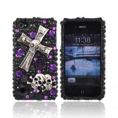 Luxmo Apple Verizon/ AT&amp;T iPhone 4, iPhone 4S Bling Hard Case - Metal Cross/Skulls on Black/Purple Gems