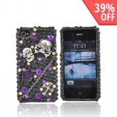 Luxmo Apple Verizon/ AT&amp;T iPhone 4, iPhone 4S Bling Hard Case - Metal Skulls/Chain/Cross on Black/Purple Gems
