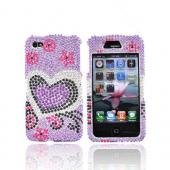 Apple Verizon/ AT&amp;T iPhone 4, iPhone 4S Bling Hard Case - Purple and Black Hearts on Purple Gems