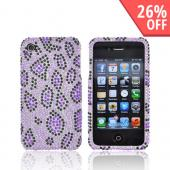 Apple Verizon/ AT&amp;T iPhone 4, iPhone 4S Bling Hard Case - Purple/Black Leopard Print