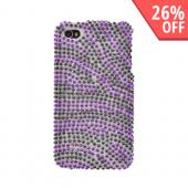 Apple Verizon/ AT&amp;T iPhone 4, iPhone 4S Bling Hard Case - Purple/Black Zebra on Silver