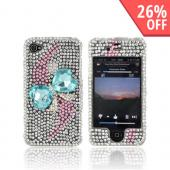 AT&amp;T/ Verizon Apple iPhone 4, iPhone 4S Bling Hard Case - Turquoise Heart Bow Bling on Silver Gems