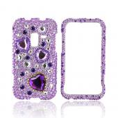 Samsung Conquer 4G Bling Hard Case - Purple Hearts on Light Purple/ Silver Gems