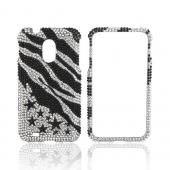 Samsung Epic 4G Touch Bling Hard Case - Black Zebra &amp; Stars on Silver Gems