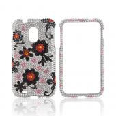 Samsung Epic 4G Touch Bling Hard Case - Black/ Red Daisies on Silver Bling